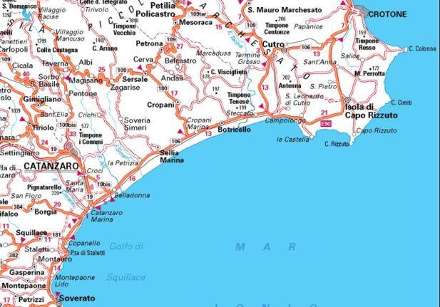 Cartina Della Calabria Ionica.Bed And Breakfast Cropani Marina Catanzaro Mappa